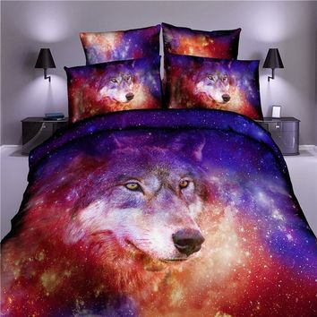 3D Galaxy Star Wolf Duvet Cover Set with Pillowcase Kids Adult Bedding Sets Queen King Size Bedlinen Home Textile