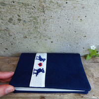 Blue Moleskine cahier cover with birds in love. Eco-friendly Moleskine cover in recycled linen. Nordic design cover, scandinavian moleskine