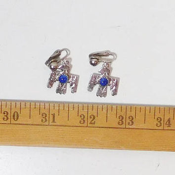 Clip On Thunderbird Earrings, Silver Tone, Blue Bead, Drop, Dangle, Engraved, Detail, Carved, Thunderbird Symbol, Southwest, Indian Jewelry