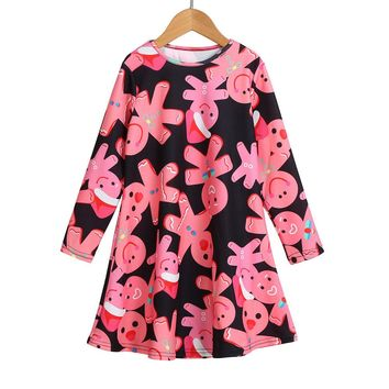 Princess Dress Toddler Kid Baby Girl Christmas Printed Clothes Long Sleeve Party Princess Dress Frocks#LSJ