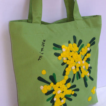 Handmade Canvas green  tote bag/shopper/carry all/ handmade/chic colorful/ mimosa flowers