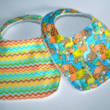 2 Dinosaur Baby bibs,  Dinosaur Bibs, Terry cloth backed baby bibs, set of 2 bibs in Dinosaur prints, Chevron baby bib, baby boy bibs