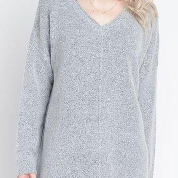 Amber Seam Front Sweater in Heather Grey