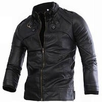 jeansian Cool Men's Slim Stand-Collar Leather Jacket Coat Out Outwear Tops 9348