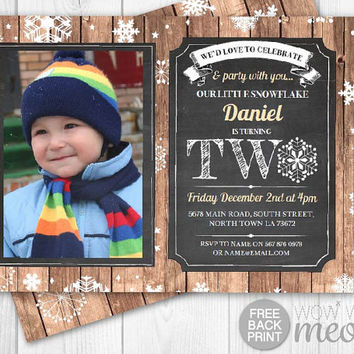 Winter 2nd Birthday Invites Snowflake Invitations INSTANT DOWNLOAD Second Two Boys Girls Rustic Photo Wood Christmas Printable Editable