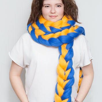 Two Colors 100% Merino Wool Chain Scarf - Extra Long