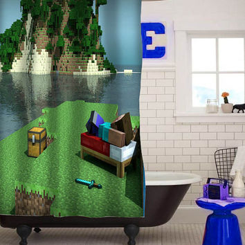 Minecraft gamecustom shower curtain custom shower curtain