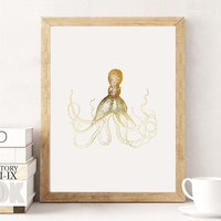 Gold Octopus Print, Real Gold Foil Poster, Octopus Print, Nautical Print, Gold Nursery Art, Gold Decor, Wall Decor,  Nautical bathroom, 5x7