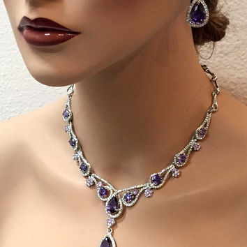 Bridal jewelry set, Wedding jewelry set, vintage inspired Purple crystal Luxury CZ pruple necklace earrings set