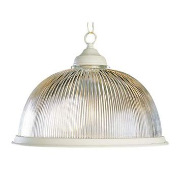 Trans Globe Lighting 1096 PB Back to Basics Polished Brass Dome Pendant with Clear Holophane Ribbed Shade - (In PB-Polished Brass)