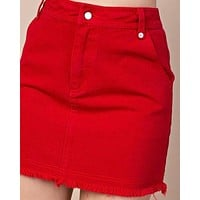 HONEY BELLE -high waisted raw hem denim skirt - red
