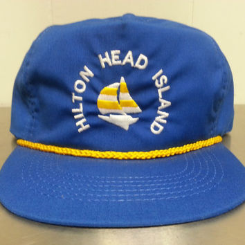 Vintage Hilton Head Island Blue Adjustable Hat Sailboat Tourist Hat Cap Leather Strap Made In USA Dad Hat