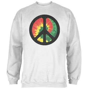 PEAPGQ9 Rasta Tie Dye Peace Sign Distressed Halftone Mens Sweatshirt