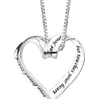 "Sterling Silver : A True Friend Reaches For Your Hand But Touches Your Heart : Ribbon Heart Pendant Necklace, 18"": Jewelry"