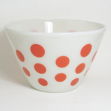 Fire King Red Polka Dot Bowl Mixing Baking Oven Proof Mid Century Large 8.5 Inches Diameter 6 Inches Tall Cook Ware