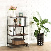 Contemporary 4-Shelf Metal Bookcase with Rich Brown Wood Grain Shelves