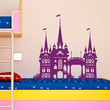 Fairy Wall Decal Fairy Castle Vinyl Decals Fairytale Stickers Art Mural Home Boy Girl Bedroom Interior Design Baby Kids Nursery Decor KY44