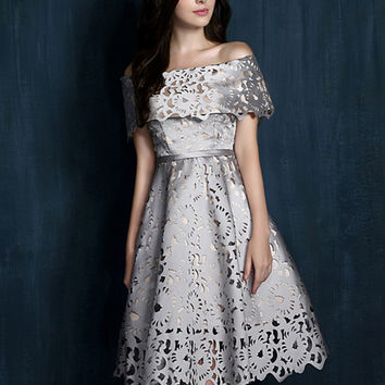Silver Gray Laser Cut Fold Off Shoulder Prom Skater Dress