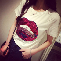 Sequined lips fashion wild cotton T-shirt