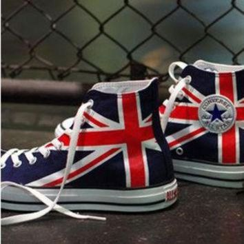 VONR3I UK Flag Union Jack Converse Sneakers Hand by EmilyTamHandPainting
