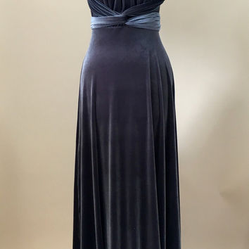 Prom dress, ball gown, bridesmaid dress, sliver velvet dress, infinity dress, long dress, evening dress, convertible dress, party dress