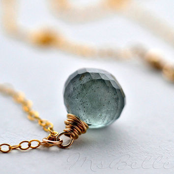 Wire Wrapped Gemstone Necklace - Moss Aquamarine Onion Briolette Necklace in 14k Gold fill