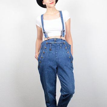 Vintage 80s Denim Overalls 1980s Tapered Leg Jeans Suspenders Overall Jumpsuit  Dungarees High Waisted Mom Jeans Jumper M Medium L Large