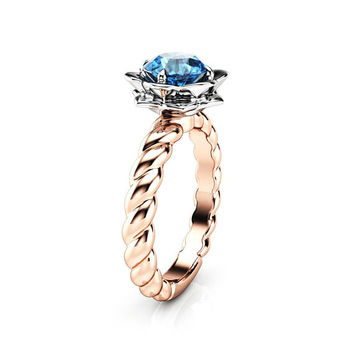 Blue Diamond Engagement Ring Flower Ring 14K Gold Ring Twist Ring Solitaire Engagement Ring