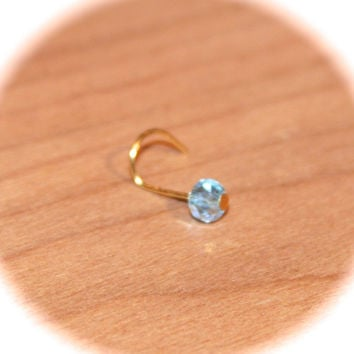 Blue Crystal Nose Stud Ring, 14k Gold Plated Wire, Cartilage Stud, tragus cartilage Stud, Tiny Gold Nose Ring, Tiny Nose Ring, Nose Jewelry