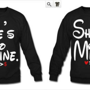 He's Mine/She's Mine Couples Crewneck Sweatshirts Disney Couples Sweatshirts