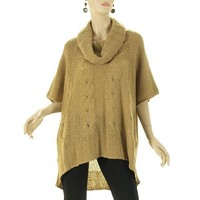 G2 Fashion Square Women's Loose Cowl Cable Knit Sweater