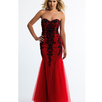 Dave & Johnny 10568 Red Strapless Sweetheart Sequin Mermaid Dress 2015 Prom Dresses