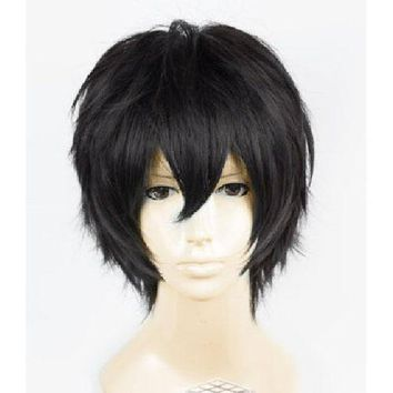 Anime Death Note Male Black Short Curly Cosplay Wig Show & Party & Performance Hair Full Wigs