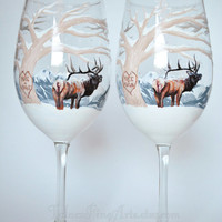 SET OF 2 - Hand Painted Winter Elk Wine Glasses; elk wedding, winter wedding, country wedding, mountain wedding, hand painted wine glasses