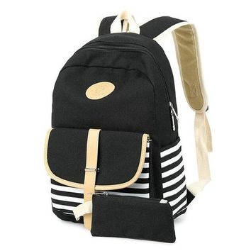 Student Backpack Children Rdywbu Navy Blue Striped Canvas Backpack Pure 2PCS/Set High Quality Students School Bag Big Girl Laptop Travel Bag Mochilas B292 AT_49_3