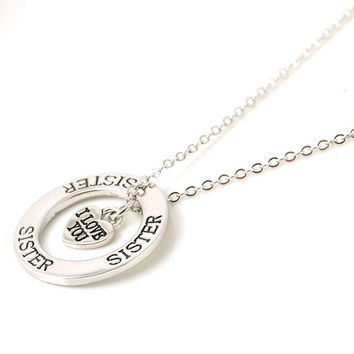 Retro Love Circle Hollow Alphabet Lettering Silver Necklace Sister Love Pendant Chain Necklace Jewelry = 1945774148