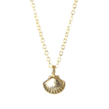 Mini Clamshell Charm Necklace in Gold