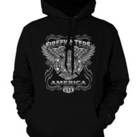 Firefighters, Born In The USA Sweathirt, Fire Dept Emblem With Wings Mens Pullover Hoodie