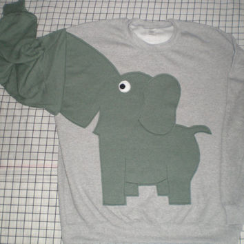 Elephant sweater, sweatshirt, shirt with trunk sleeve.large, grey with grey green heather elephant