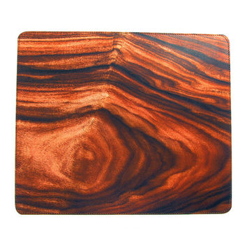 Leather Mouse Mat - Dark Wood Grain