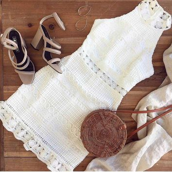 Country Girl's Lace Sleeveless Dress
