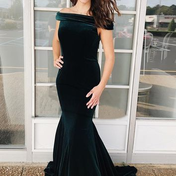 Dark Green Mermaid Off the Shoulder Velvet Long Prom Dress,2019 Evening Dress Formal Gowns F2196