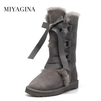 High Quality Women Snow boots 100% Genuine Sheepskin Leather Lace up High boots Natural Fur Warm Wool  Winter  Women Boots