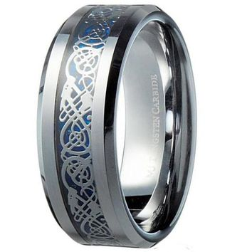 8mm Blue Celtic Dragon Tungsten Carbide Ring Wedding Band