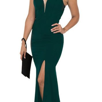 Cut-Out Back Mermaid Long Prom Dress with Slit Green