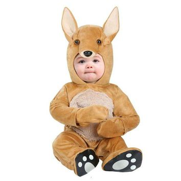 DCCKH6B Delightful Infant Baby Kangaroo Costume Soft Cuddle Plush Hooded Onesuit Coolest Little Animal Dress-up Newborn To 12/18M