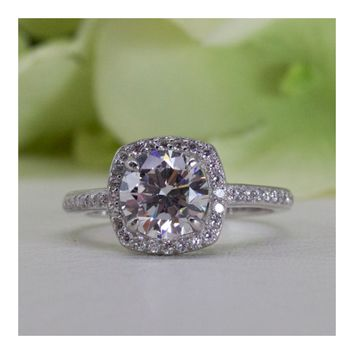 Cushion Halo With Round Cut Cubic Zirconia Engagement Ring In Sterling Silver