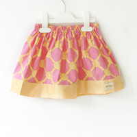 pink and Yellow baby skirt, toddler skirt, rope knot sailor skirt, cotton skirt