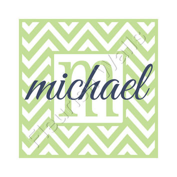 Chevron Name Decal Personalized With Name and Initial For Girl Or Boy Baby Nursery Or Bedroom 22H x 22W CN023