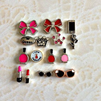 Girly floating charms for memory lockets